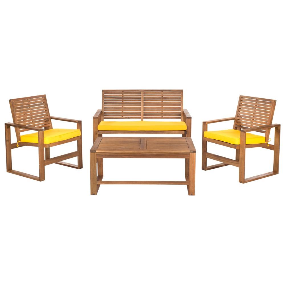 Ozark 4pc Acacia Wood Patio Conversation Set Brown Yellow Safavieh