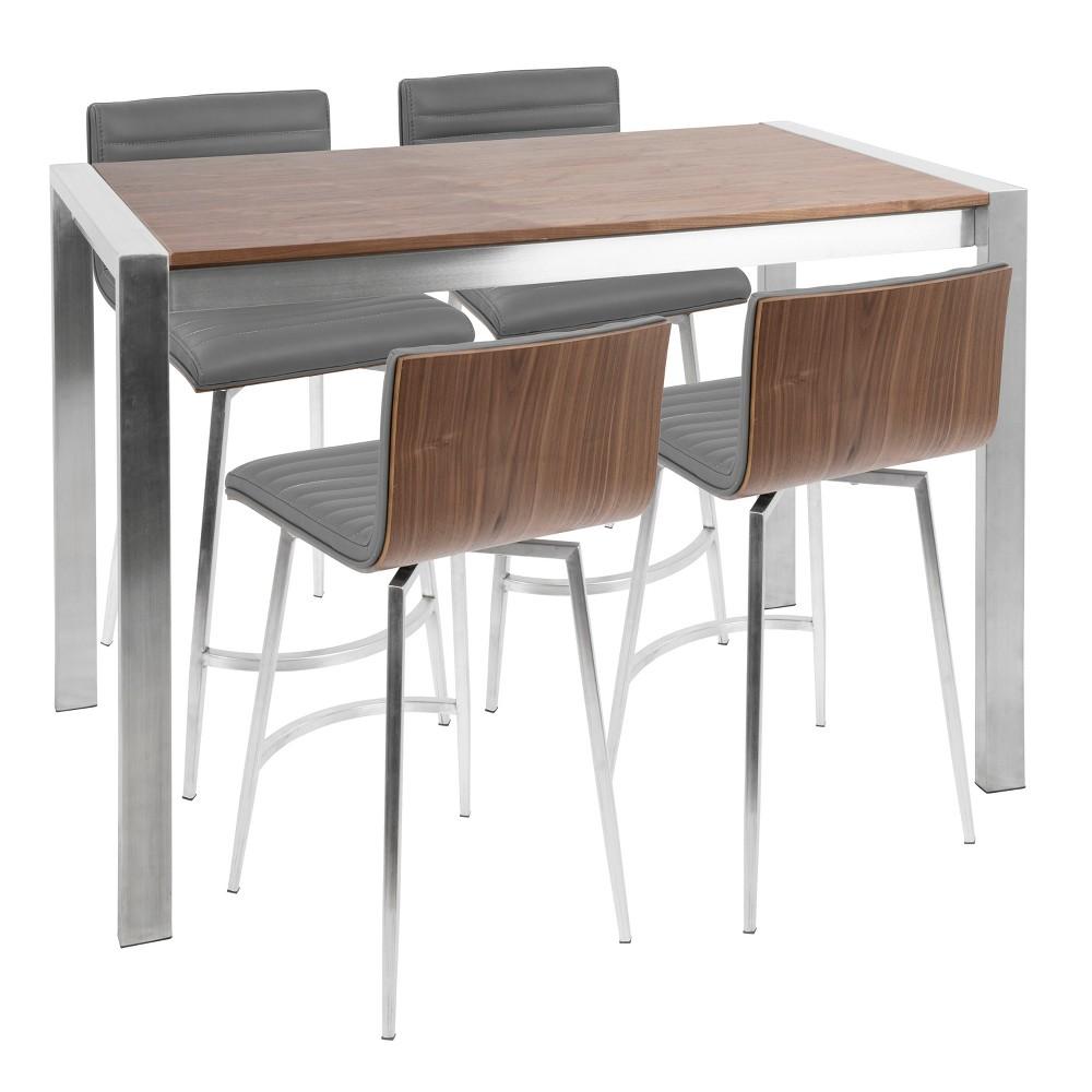 Mason 5pc Contemporary Counter Set Stainless Steel/Walnut/ Gray - Lumisource
