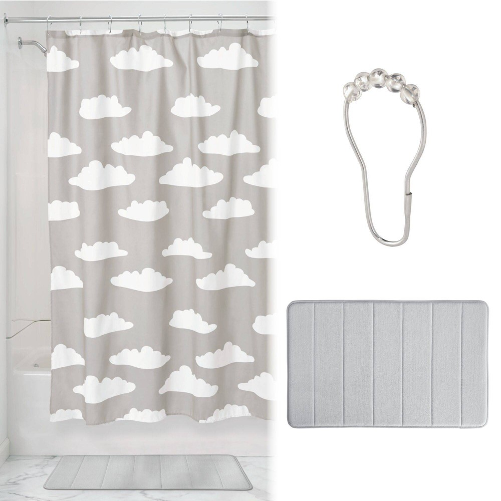 Image of Bath Cloud Shower Curtain with Memory Foam Mat and Ring Bundle Gray/White - iDesign