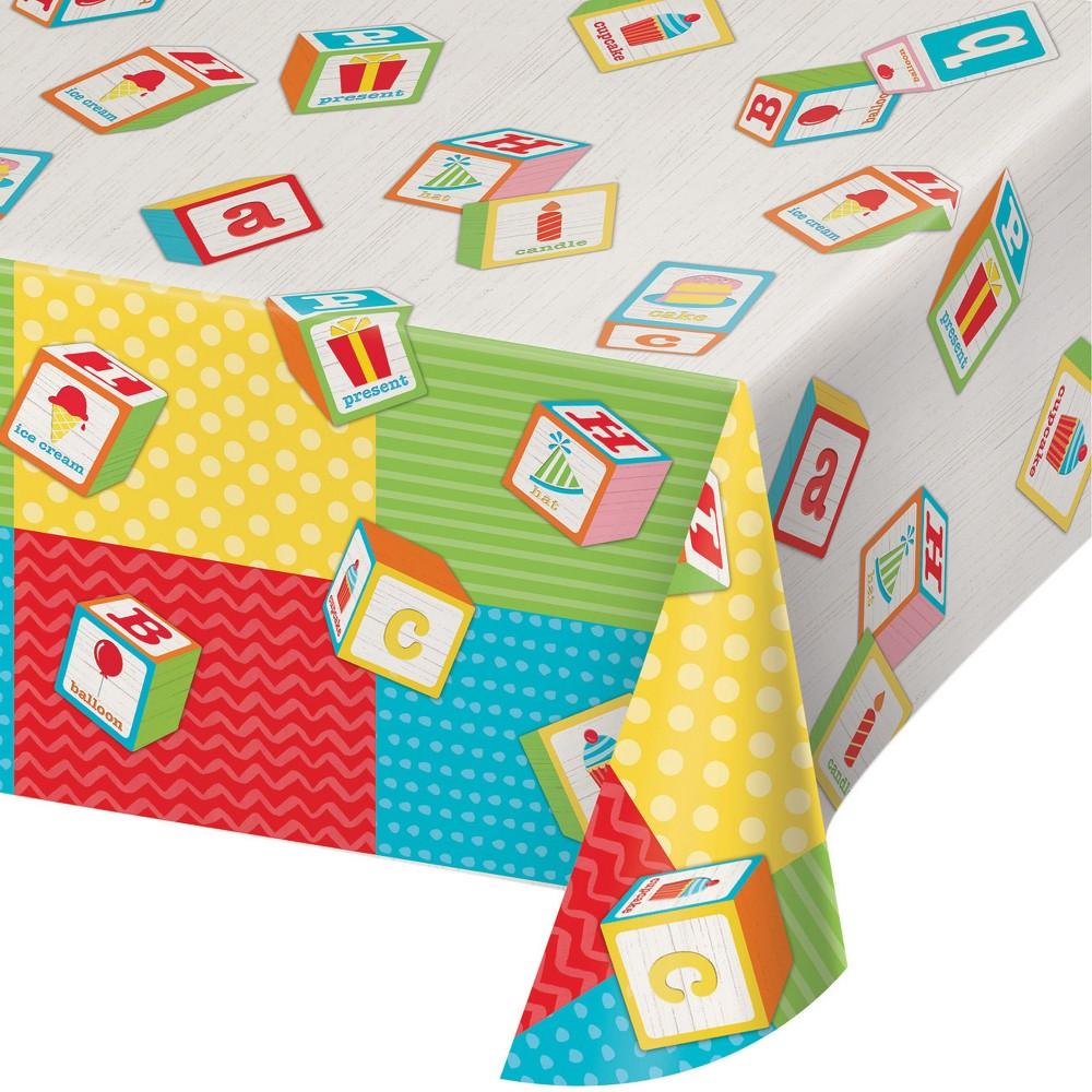 Creative Converting Abc Blocks Birthday Plastic Tablecloth