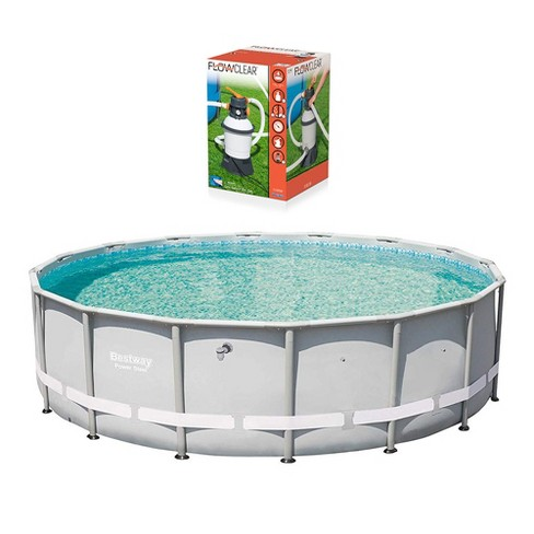 Bestway 16ft x 48in Power Steel Pro Frame Pool & Flowclear Sand Filter Pump - image 1 of 4