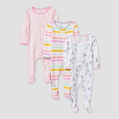 Baby Girls' 3pk Unicorn Adventure Sleep N' Play - Cloud Island™ Pink Newborn