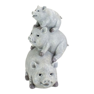 """Roman 10.5"""" Gray Weathered Stacked Pig Statue"""