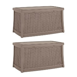 Suncast Elements 30 Gallon Outdoor Patio Resin Wicker Coffee Table (2 Pack)