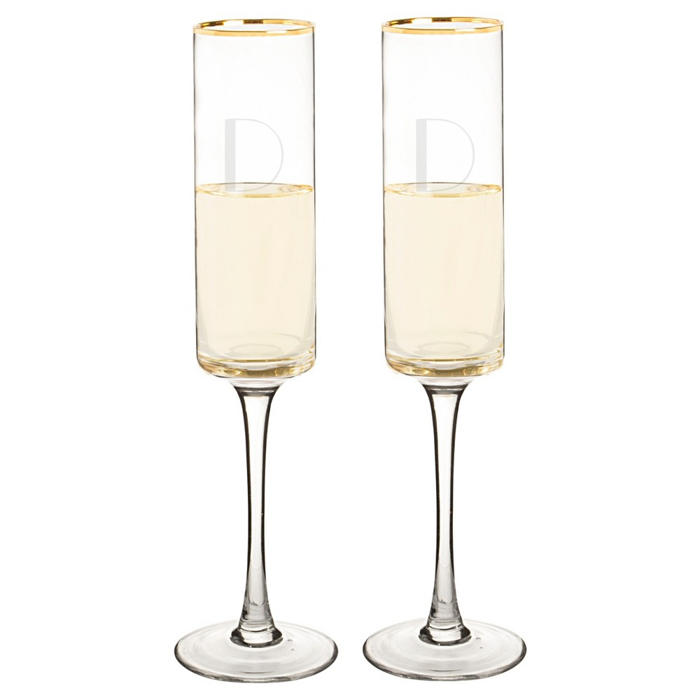 2ct Monogram Gold Rim Champagne Flute - D, Clear Gold