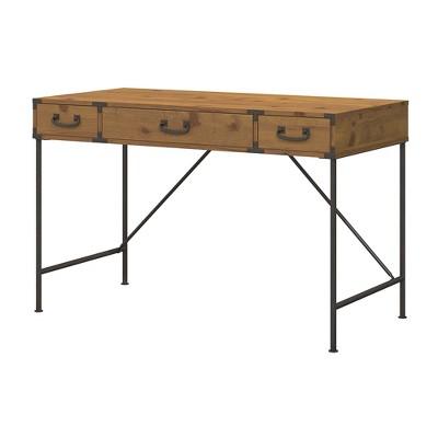 Kathy Ireland Office Ironworks Writing Desk In Vintage Golden Pine - Bush Furniture