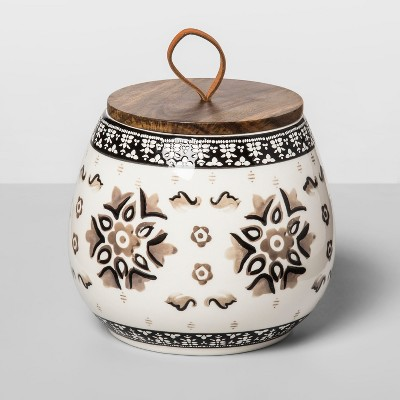 60oz Stoneware Floral Canister Gray - Opalhouse™