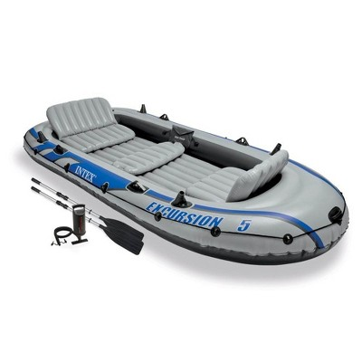 Intex 68325EP Excursion Inflatable 5 Person Heavy Duty Fishing Boat Raft Set with 2 Aluminum Oars & High Output Air Pump for Lakes & Mild Rivers, Gray