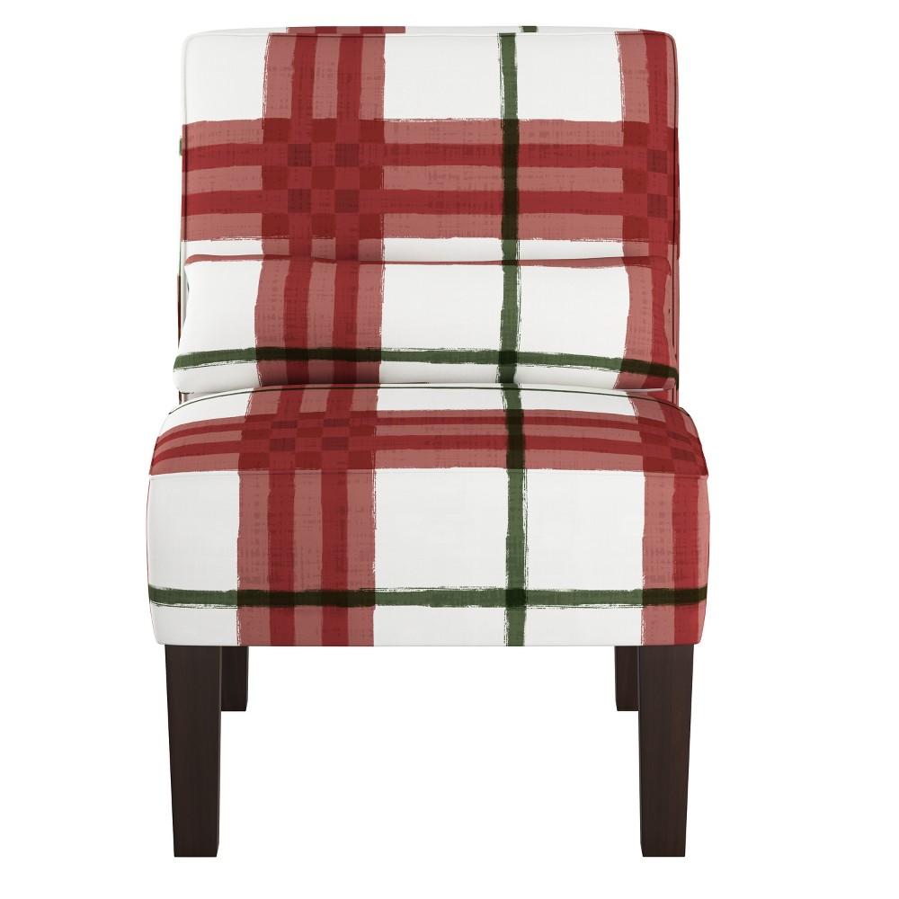 Armless Chair Brush Plaid Holiday - Skyline Furniture