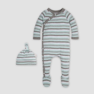 Burt's Bees Baby® Organic Cotton Sixties Stripe & Knot Coverall & Cap Set - Seaglass Newborn