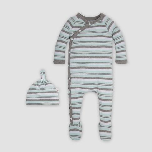 Burt s Bees Baby® Organic Cotton Sixties Stripe   Knot Coverall   Cap Set -  Seaglass fbcd84bbc365