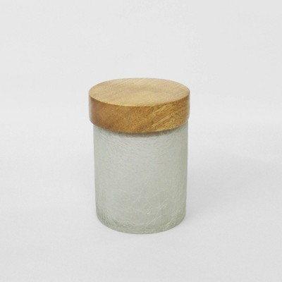 Small Smoke Glass Canister with Wooden Lid Off White - Nu Steel
