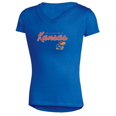 Kansas Jayhawks Girls' Short Sleeve Bright Lights V-Neck T-Shirt - image 1 of 1