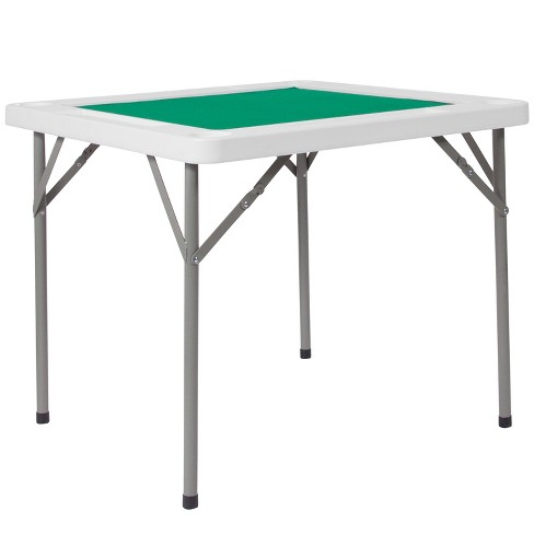 Flash Furniture 3-Foot Square Granite White Folding Game Table with Green Playing Surface and 4 Cup Holders - image 1 of 4