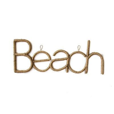 "31.75"" x 12"" Rope Beach Sign Brown - Stratton Home Décor"