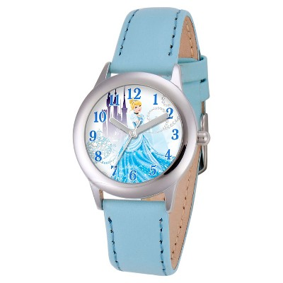 Girls' Disney Princess Cinderella Stainless Steel Plain Case Watch - Blue