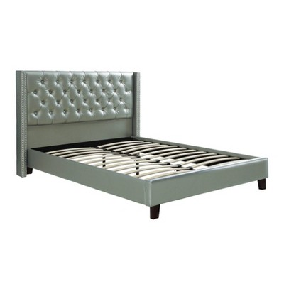 Faux Leather Upholstered Bed Featuring Nail head Trim Silver - Benzara