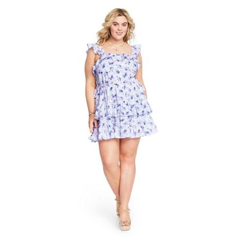 Women's Amalie Tiered Ruffle Dress - LoveShackFancy for Target (Regular & Plus) White/Blue  - image 1 of 4