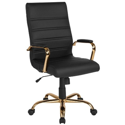 High Back Leather Executive Swivel Office Chair with Chrome Base and Arms Black/Gold Frame - Riverstone Furniture