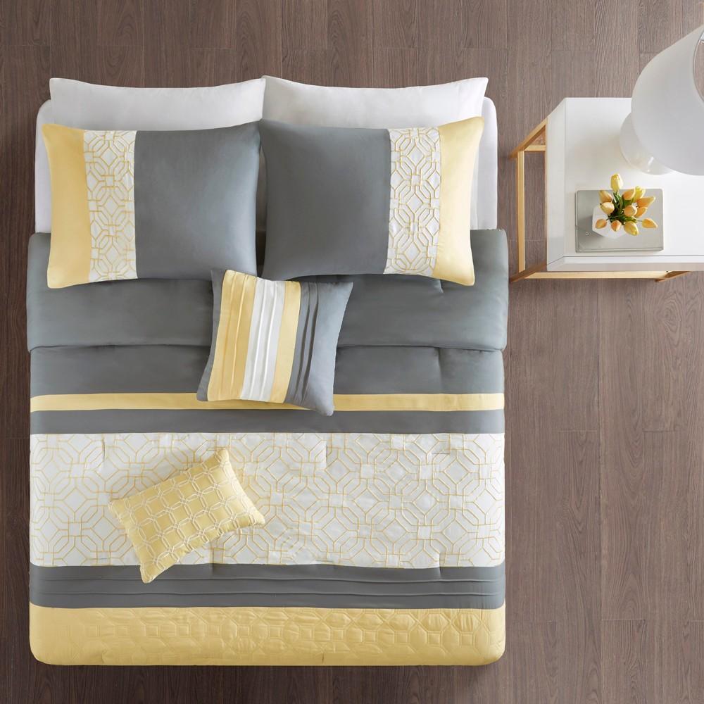 Image of 5pc King/Cal King Merissi Embroidered Comforter Set Yellow/Gray, Size: King/California King
