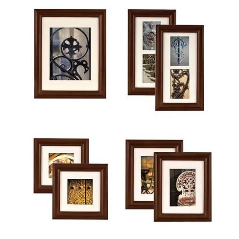 Gallery Perfect 7 Piece Wall Frame Set - Walnut : Target