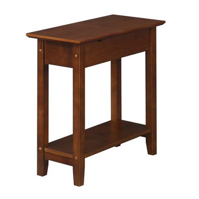 American Heritage Flip Top End Table with Charging Station and Shelf - Breighton Home