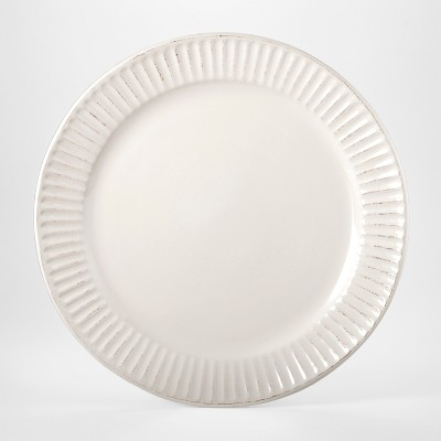 Stoneware Harrison Lines Dinner Plate 10.4  White - Threshold™