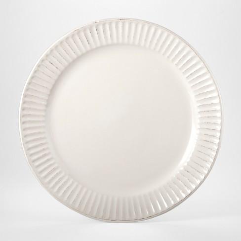 "Stoneware Harrison Lines Dinner Plate 10.4"" White - Threshold™ - image 1 of 2"