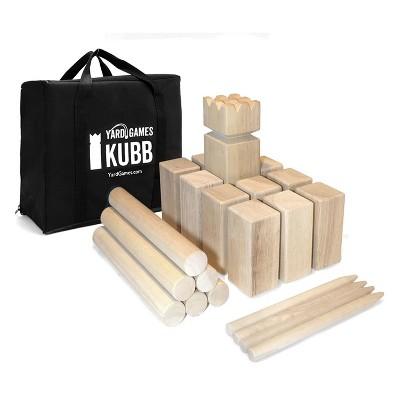 YardGames Regulation Size Kubb Backyard Outdoor Hardwood Block Adults Kids Tossing Throwing Game Set with Nylon Carrying Storage Bag