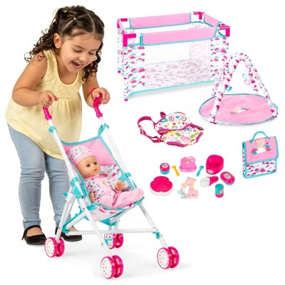 Best Choice Products Kids 15-Piece 13.5in Newborn Baby Doll Nursery Role Play Playset w/ Stroller, Cot, Bag, Accessories