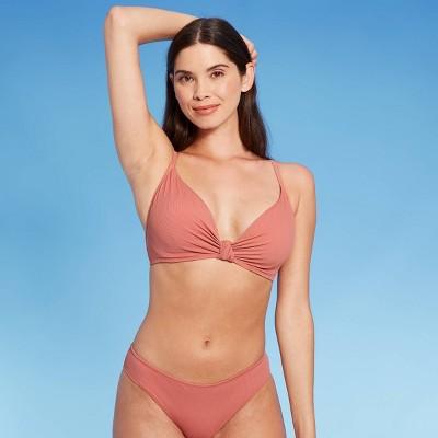 Women's Knot-Front Ribbed Triangle Bikini Top - Shade & Shore™ Clay