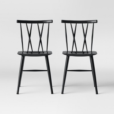 Set of 2 Becket Metal X Back Dining Chair Black - Project 62™