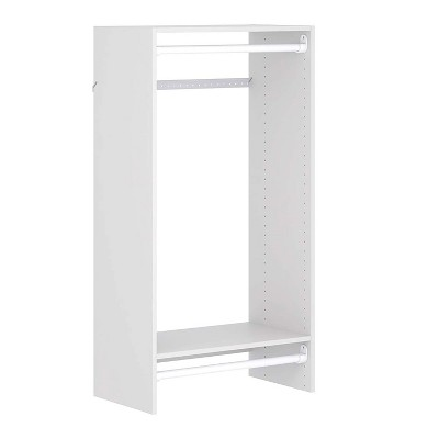 Easy Track 680099-WH Composite Wood Constructed Durable Double Hanging Kit Storage Closet Organizer with 2 Shelves and 2 Hanging Rods, White