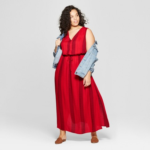 ac5fc459118 Women s Plus Size Striped Sleeveless V-Neck Maxi Dress - Universal Thread™  Red   Target