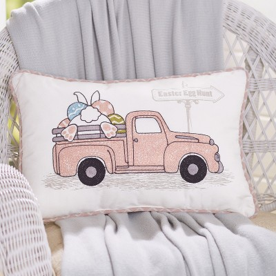 Lakeside Easter Egg Hunt Truck Embroidered Throw Pillow - Holiday Home Accent