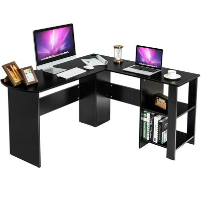 Costway Modern L-Shaped Computer Desk Writing Study Office Corner Desk w/Shelves
