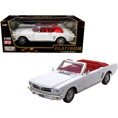 """1964 1/2 Ford Mustang Convertible White with Red Interior """"Platinum Collection"""" 1/18 Diecast Model Car by Motormax"""