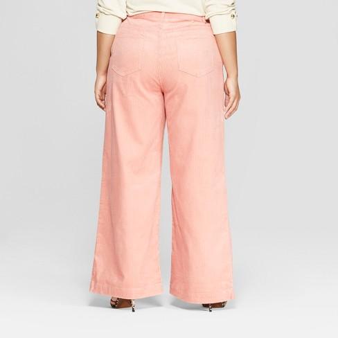 a1fc05810682 Women s Plus Size Corduroy Street Sweeper Pants - Who What Wear™ Pink    Target