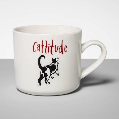 16oz Stoneware Cattitude Mug Cream - Opalhouse™