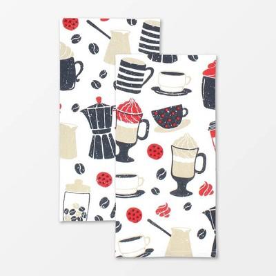 2pk Designer Barista Print Towel - MU Kitchen