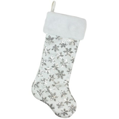 Northlight 19 White and Silver Sequin Snowflake Christmas Stocking