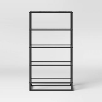 Ada 5 Shelf Bookcase with Glass Shelves and Metal Frame - Project 62™