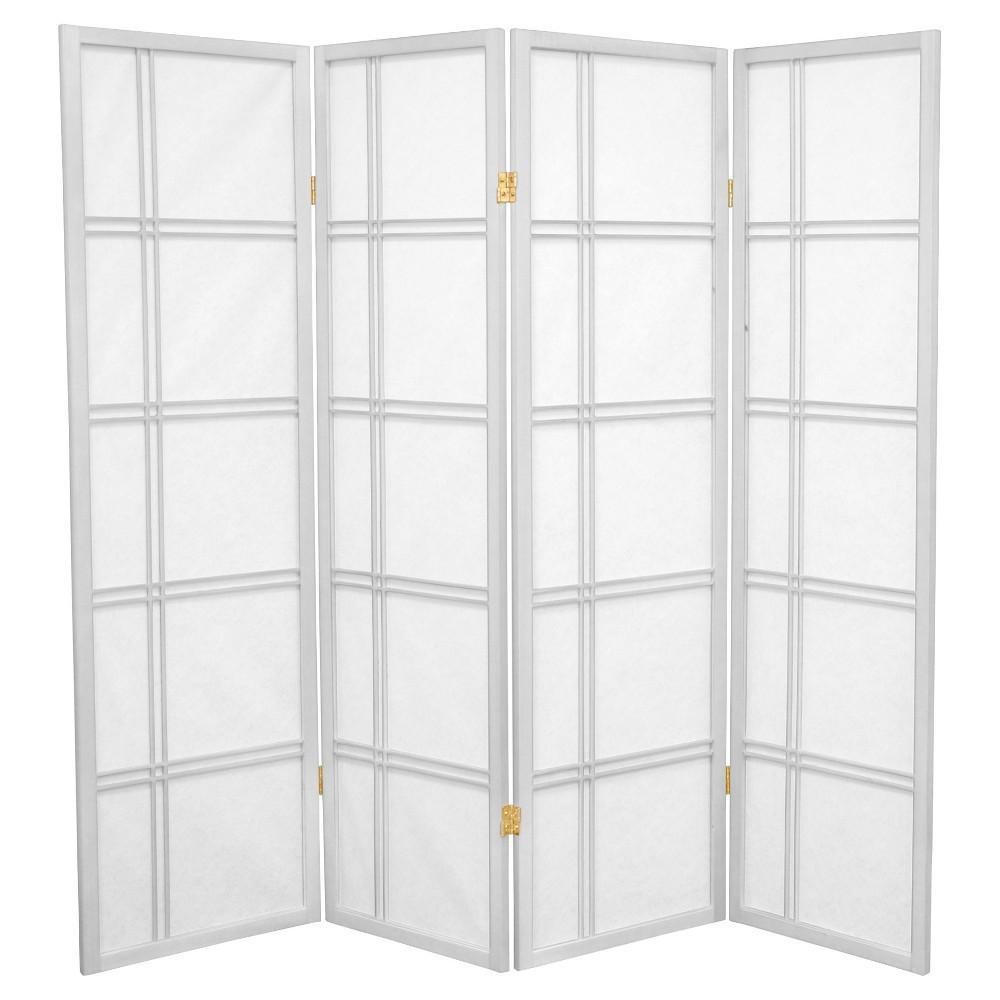 5 ft. Tall Double Cross Shoji Screen - White (4 Panels) - Oriental Furniture