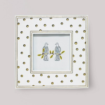 "4"" x 4"" Carved Resin Polka Dot Frame White - Opalhouse™"