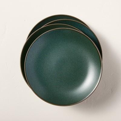 4pk Stoneware Exposed Rim Appetizer Plate Set Dark Green - Hearth & Hand™ with Magnolia