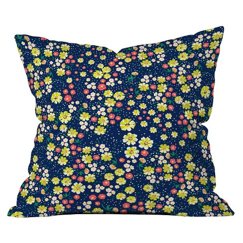Wild Floral Ditsy In Navy Throw Pillow - Deny Designs® - image 1 of 1
