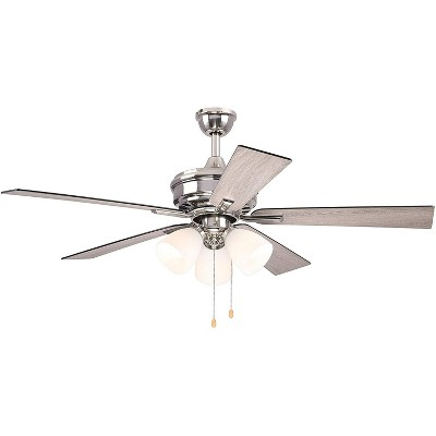 "52"" Dual Mount Brushed Nickel Ceiling Fan with Frosted White Glass Light (Reversible Blades)- Hearth Brands"