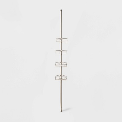 Steel Corner Tension Pole Caddy Brushed Nickel - Made By Design™