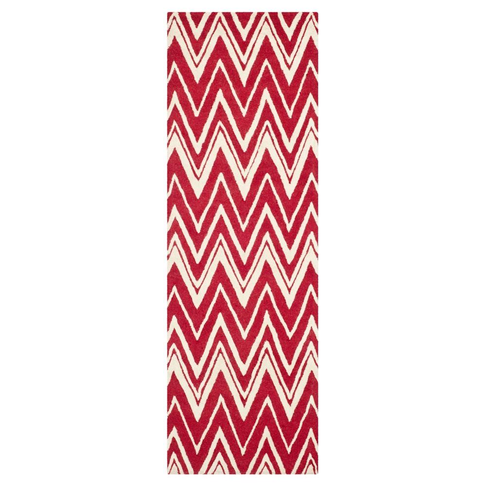 Burton Textured Rug - Red / Ivory (2'6 X 8') - Safavieh, Red/Ivory