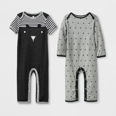 Baby 2pk Coveralls - Cloud Island™ Black/Gray 12M